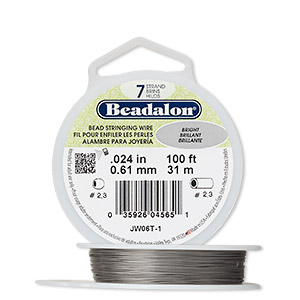 wire, beadalon, nylon and stainless steel, bright, 7 strand, 0.024-inch diameter. sold per 100-foot spool.