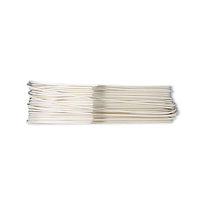 wire, fine silver, half-hard, round, 26 gauge. sold per pkg of 5 feet.