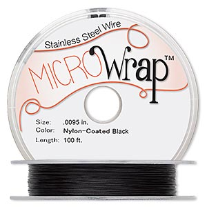 wire, microwrap™, nylon-coated stainless steel, black, 1 strand, 0.0095-inch diameter, 30 gauge. sold per 100-foot spool.