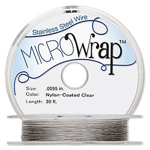wire, microwrap™, nylon-coated stainless steel, clear, 1 strand, 0.0095-inch diameter. sold per 30-foot spool.