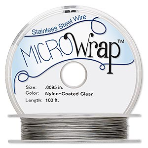 wire, microwrap™, nylon-coated stainless steel, clear, 1 strand, 0.0095-inch diameter, 3.5-pound test, 30 gauge. sold per 100-foot spool.
