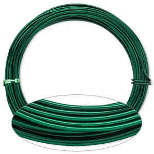 wire, painted aluminum, green, round, 12 gauge. sold per pkg of 45 feet.