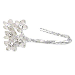 wire pick, victoria lynn™, steel/glass/acrylic czech rhinestone, clear, 4 inches with 16x16mm flower. sold per pkg of 5.