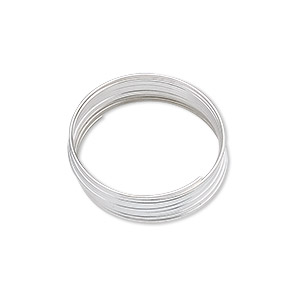 wire, silver-plated carbon steel, 0.4-0.5mm thick, 3/4 inch inside diameter. sold per pkg of 12 loops.