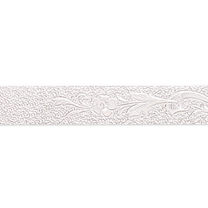wire, sterling silver, dead-soft, 8.5mm with floral pattern, 28 gauge. sold per pkg of 1 foot.