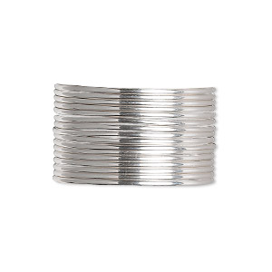 wire, sterling silver, dead-soft, round, 16 gauge. sold per pkg of 5 feet.