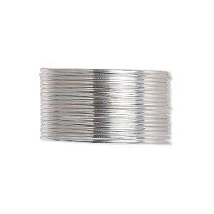 wire, sterling silver, dead-soft, round, 20 gauge. sold per pkg of 5 feet.