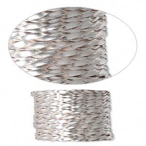 wire, sterling silver, dead-soft, twisted square, 14 gauge. sold per pkg of 5 feet.