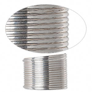 wire, sterling silver, full-hard, half-round, 16 gauge. sold per pkg of 5 feet.