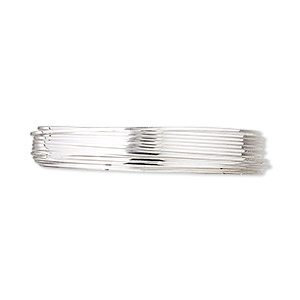wire, sterling silver, full-hard, square, 24 gauge. sold per pkg of 5 feet.