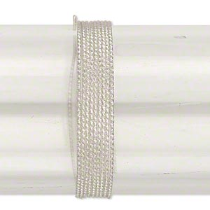 wire, sterling silver, full-hard, textured round, 18 gauge. sold per pkg of 25 feet.