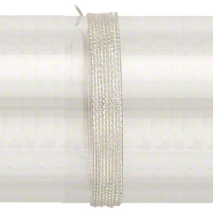 wire, sterling silver, full-hard, textured round, 20 gauge. sold per pkg of 5 feet.