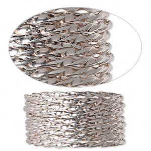 wire, sterling silver, full-hard, twisted round, 13.5 gauge. sold per pkg of 5 feet.