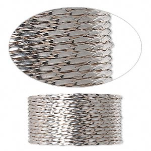 wire, sterling silver, full-hard, twisted square, 20 gauge. sold per pkg of 5 feet.