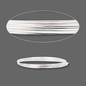 wire, sterling silver, half-hard, round, 22 gauge. sold per pkg of 5 feet.