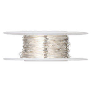 wire, sterling silver, half-hard, round, 30 gauge. sold per 1/4 ounce spool, approximately 45 feet.