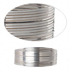 wire, sterling silver, half-hard, square, 24 gauge. sold per pkg of 5 feet.