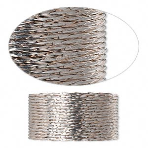 wire, sterling silver, half-hard, twisted round, 19 gauge. sold per pkg of 5 feet.