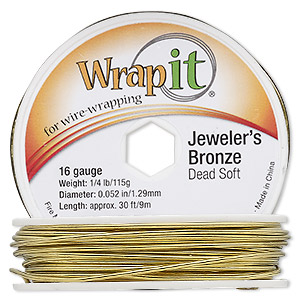 wire, wrapit, jewelers bronze, dead-soft, round, 16 gauge. sold per 1/4 pound spool, approximately 30 feet.