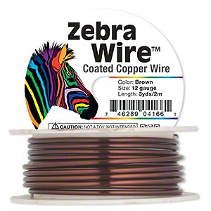 wire, zebra wire™, color-coated copper, brown, round, 12 gauge. sold per 3-yard spool.