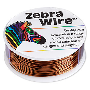 wire, zebra wire™, color-coated copper, brown, round, 24 gauge. sold per 1/4 pound spool, approximately 71 yards.