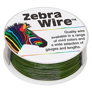 wire, zebra wire™, color-coated copper, green, round, 24 gauge. sold per 1/4 pound spool, approximately 71 yards.