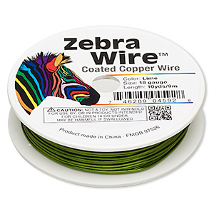 wire, zebra wire™, color-coated copper, lime green, round, 18 gauge. sold per 10-yard spool.
