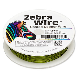wire, zebra wire™, color-coated copper, lime green, round, 26 gauge. sold per 30-yard spool.
