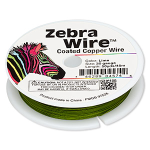 wire, zebra wire™, color-coated copper, lime green, round, 30 gauge. sold per 50-yard spool.