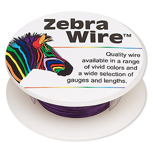 wire, zebra wire™, color-coated copper, purple, round, 28 gauge. sold per 40-yard spool.