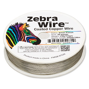 wire, zebra wire™, copper, silver color, round, 30 gauge. sold per 1/4 pound spool, approximately 215 yards.