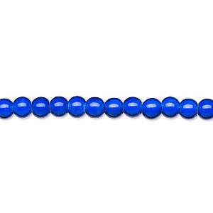 wonder bead, acrylic, blue, 4mm round with 0.9-1.2mm hole. sold per 16-inch strand.