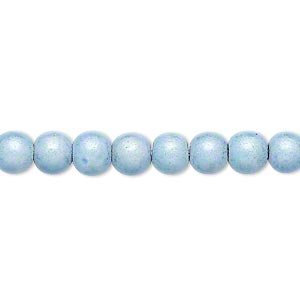 wonder bead, acrylic, light blue, 6mm round. sold per 16-inch strand.