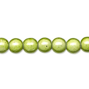 wonder bead, acrylic, medium green, 8mm round. sold per 16-inch strand.