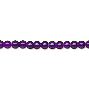 wonder bead, acrylic, purple, 4mm round with 0.9-1.2mm hole. sold per 16-inch strand.