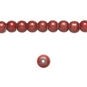 wonder bead, acrylic, rose, 6mm round. sold per 16-inch strand.