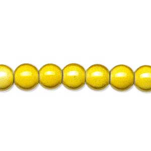 wonder bead, acrylic, yellow, 8mm round. sold per 16-inch strand.