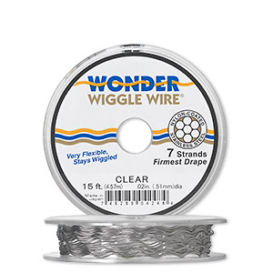 wonder wiggle wire, clear, .02-inch diameter. sold per pkg of ten 20-inch strands.