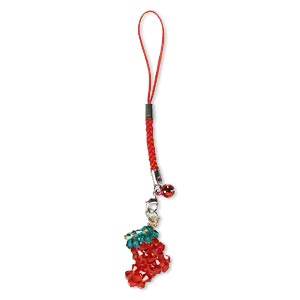 zipper pull, nylon / glass / steel / aluminum / pewter (zinc-based alloy), red and green, 5 inches with 6mm bell and 28x24mm stocking with lobster claw clasp. sold individually.